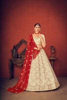 Thread Sequence Embroidered Art Silk Lehenga Choli In Off White