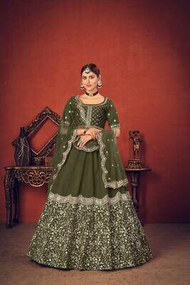 Thread Sequence Embroidered Art Silk Lehenga Choli In Mehendi Green