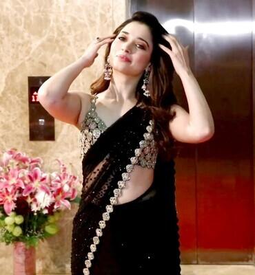 Tamanna Hevy Gorget Sequance Fancy Multy & Mirror Hand Work Party Wear Saree (Black)