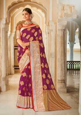 Weaving Organza Rich Pallu Saree In Purple