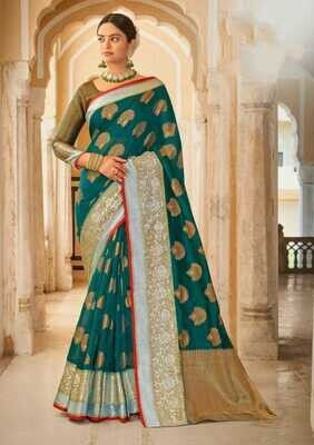 Weaving Organza Rich Pallu Saree In Teal Blue