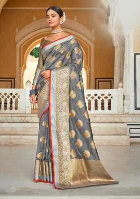 Weaving Organza Rich Pallu Saree In Grey