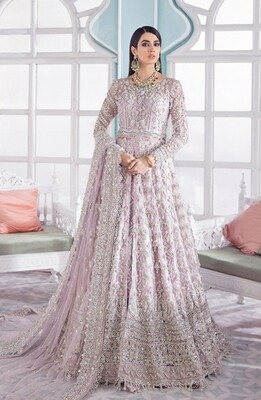 Heavy Embroidered Butterfly Net Anarkali Suit In Liliac