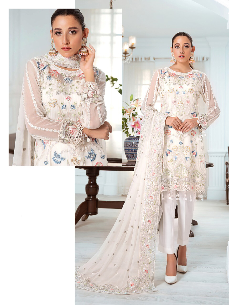 Embroidered Georgette Pakistani Suit In White