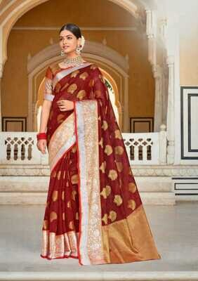Weaving Organza Rich Pallu Saree In Maroon