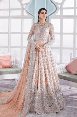 Heavy Embroidered Butterfly Net Anarkali Suit In Peach