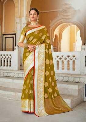Weaving Organza Rich Pallu Saree In Mehendi Color