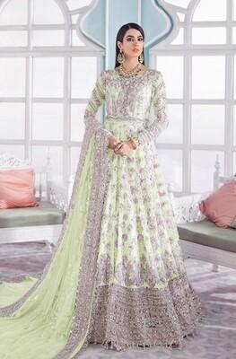 Heavy Embroidered Butterfly Net Anarkali Suit In Green