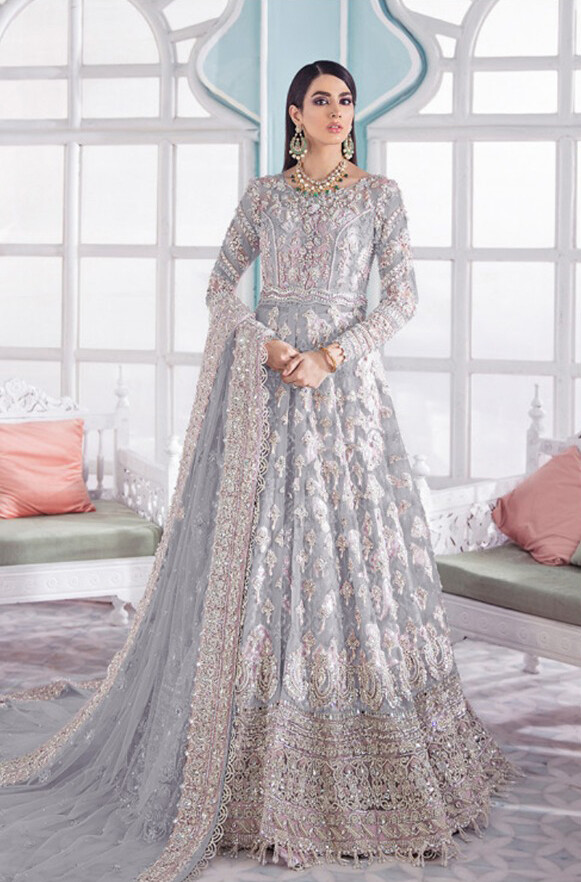 Heavy Embroidered Butterfly Net Anarkali Suit In Grey