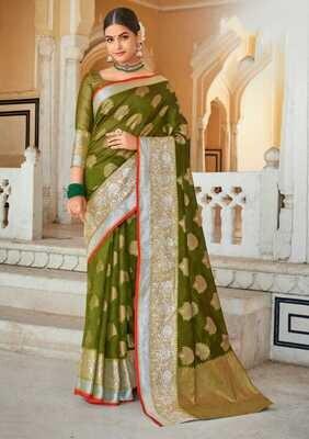 Weaving Organza Rich Pallu Saree In Olive Green