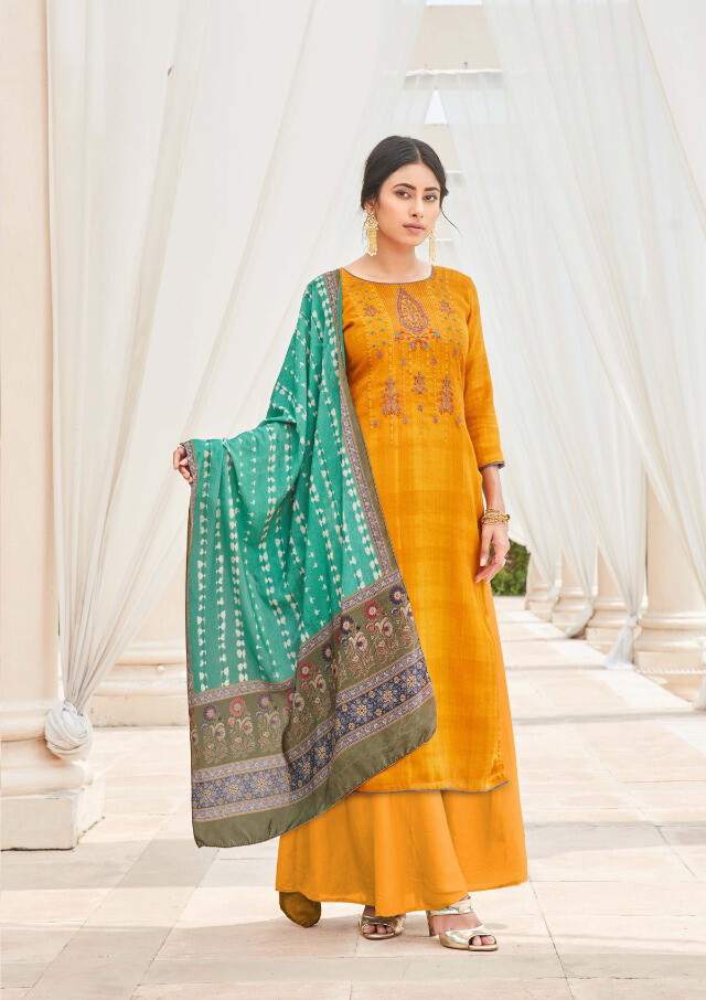 Digital Print Embroidered Pashmina Plazzo Suit In Mustard Yellow