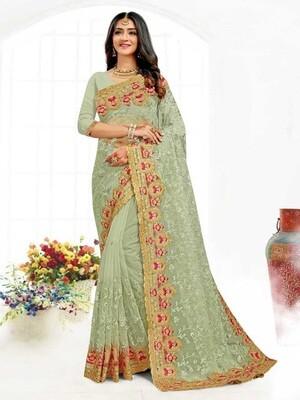 Heavy Resham Embroidery Net Saree In Green