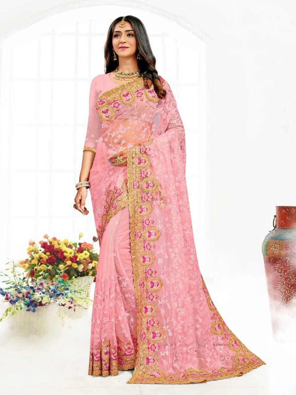Heavy Resham Embroidery Net Saree In Pink