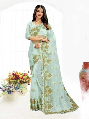 Heavy Resham Embroidery Net Saree In Light Blue