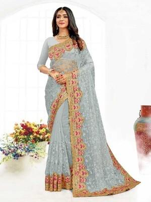 Heavy Resham Embroidery Net Saree In Grey