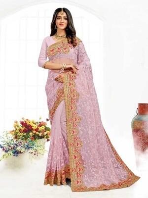 Heavy Resham Embroidery Net Saree In Liliac
