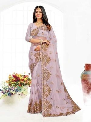 Heavy Resham Embroidery Net Saree In Lavender