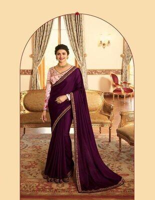 Heavy Embroidery Pure Rangoli Silk Saree In Purple
