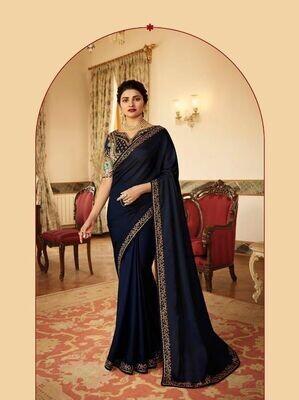 Heavy Embroidery Pure Rangoli Silk Saree In Navy Blue