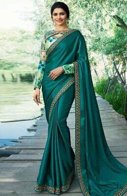 Heavy Embroidery Pure Rangoli Silk Saree In Green