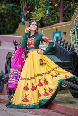 Resham Embroidered Soft Cotton Chaniya Choli In Green Yellow