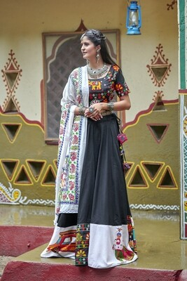 Resham Embroidered Soft Cotton Lehenga Choli  In Black