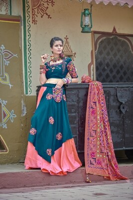 Resham Embroidered Soft Cotton Chaniya Choli In Blue