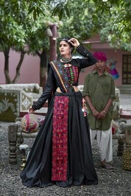 Resham Embroidered Soft Cotton Chaniya Choli In Black