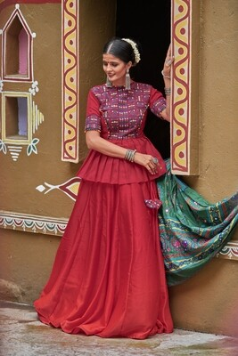 Real Mirror Embroidered Silk Lehenga Choli In Red