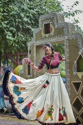 Resham Embroidered Adda Silk Lehenga Choli In White Rani