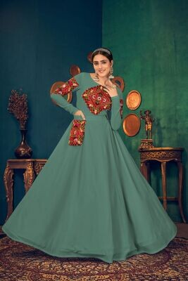 Embroidered Mirror Work Georgette Gown In Green
