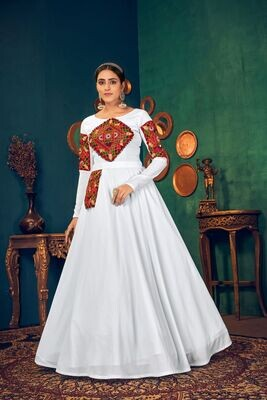 Embroidered Mirror Work Georgette Gown In White