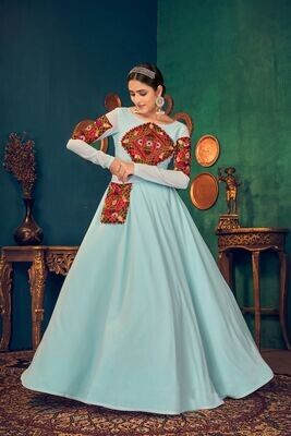 Embroidered Mirror Work Georgette Gown In Aqua Blue