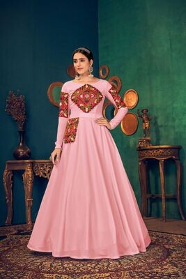 Embroidered Mirror Work Georgette Gown In Pink