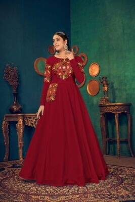Embroidered Mirror Work Georgette Gown In Red