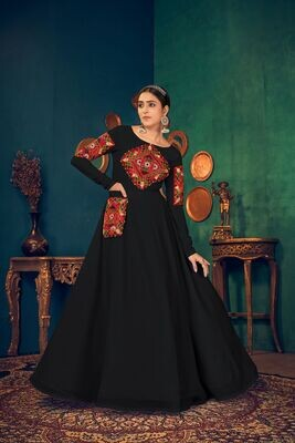 Embroidered Mirror Work Georgette Gown In Black