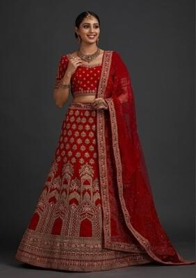 Embroidered Velvet Lehenga Choli In Red
