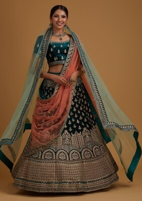 Embroidered Velvet Lehenga Choli In Teal Blue