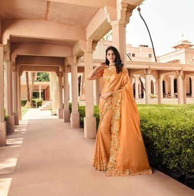 Fancy Embroidered Saree In Orange