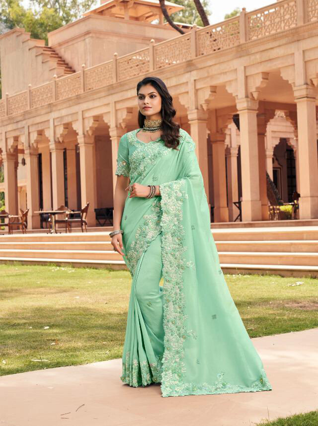Fancy Embroidered Saree In Mint  Green