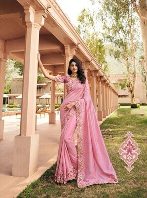 Fancy Embroidered Saree In Pink