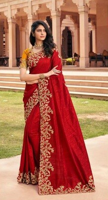 Fancy Embroidered Saree In Red