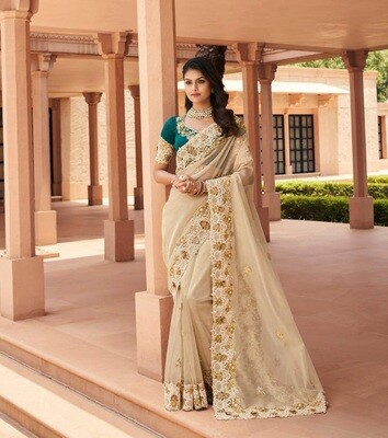 Fancy Embroidered Saree In Cream