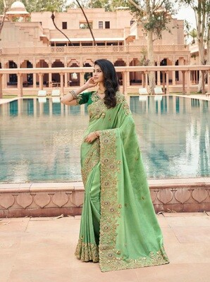 Fancy Embroidered Saree In Light Green