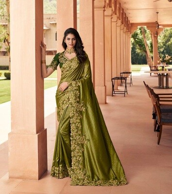 Fancy Embroidered Saree In Mehendi Green