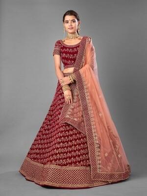 Thread Embroidered Worked Velvet Lehenga Choli In Brick Red