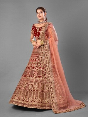 Dori Embroidered Worked Velvet Lehenga Choli In Deep Red