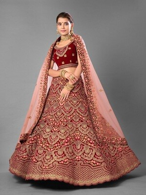 Bridal Embroidered Worked Velvet Lehenga Choli In Currant Red