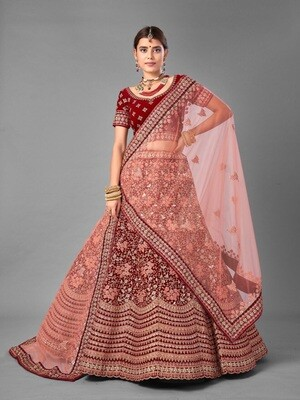 Thread Embroidered Worked Velvet Lehenga Choli In Maroon