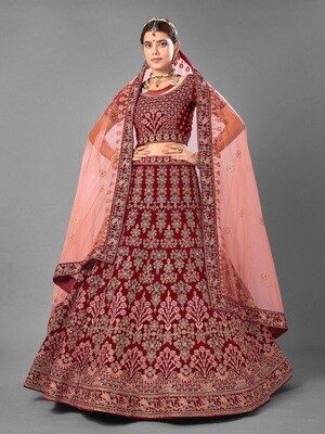 Heavy Bridal Embroidered Worked Velvet Lehenga Choli In Purple